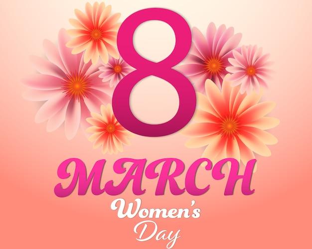 Vrouwendag 8 maart en bloemenachtergrond.