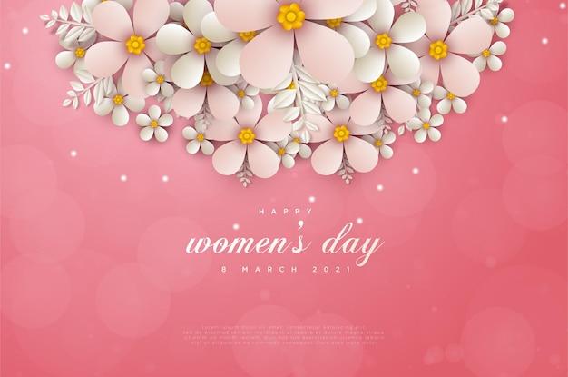Vrouwendag 8 maart kaart met bloemen die de bovenkant van de kaart versieren.