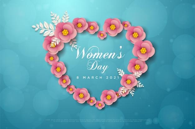 Vrouwendag 8 maart kaart met bloemen die liefde vormgeven.