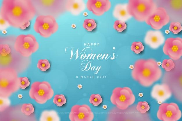 Vrouwendag 8 maart kaart met cijfers en de kaart van blauw papier met roze bloemen.