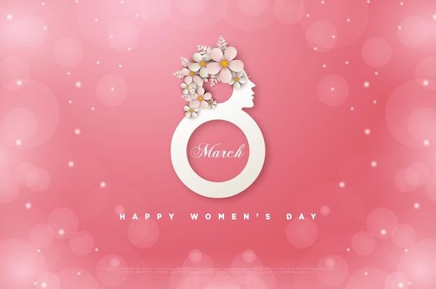 Vrouwendag 8 maart kaart met een gesimuleerde afbeelding van vrouwen die getallen vormen.