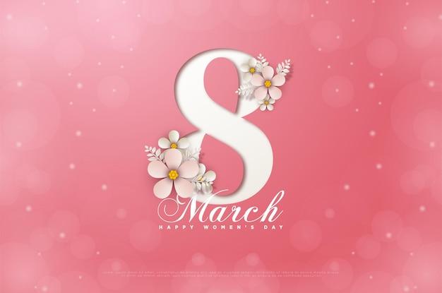 Vrouwendag 8 maart kaart met roze bloemen die de cijfers gedeeltelijk bedekken.