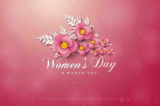 Vrouwendag 8 maart kaart met roze bloemen en witte bladeren.