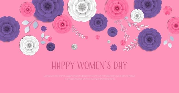 Vrouwendag 8 maart vakantie feest banner flyer of wenskaart met decoratieve papieren bloemen 3d-rendering horizontale illustratie