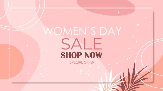 Vrouwendag 8 maart vakantie feest levendige flyer of wenskaart met decoratieve bladeren en hand getrokken texturen horizontale illustratie