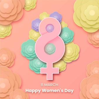 Vrouwendag achtergrond in papier stijl