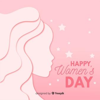 Vrouwendag achtergrond in papieren stijl
