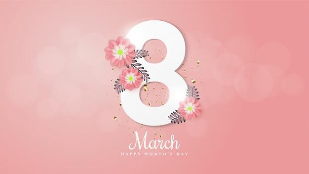 Vrouwendag achtergrond met afbeelding nummer 8 en bloemen takken en bladeren.