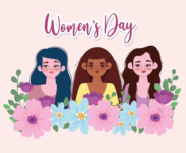 Vrouwendag achtergrond met bloemen