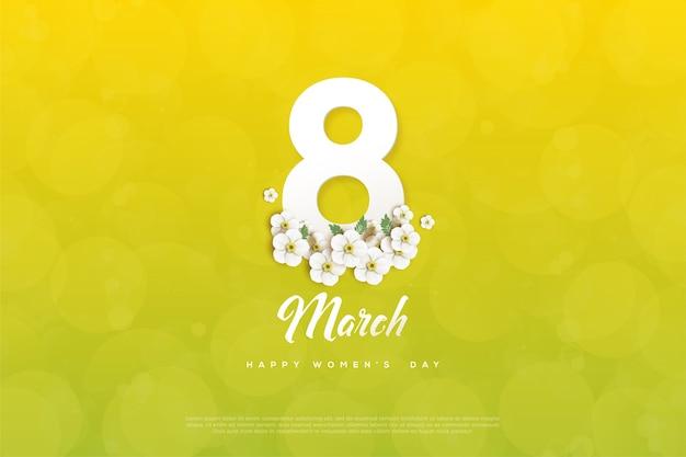 Vrouwendag achtergrond met cijfers en bloemen op gele achtergrond.