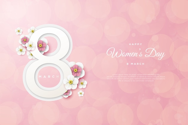 Vrouwendag achtergrond met cijfers en bloemen op roze achtergrond.