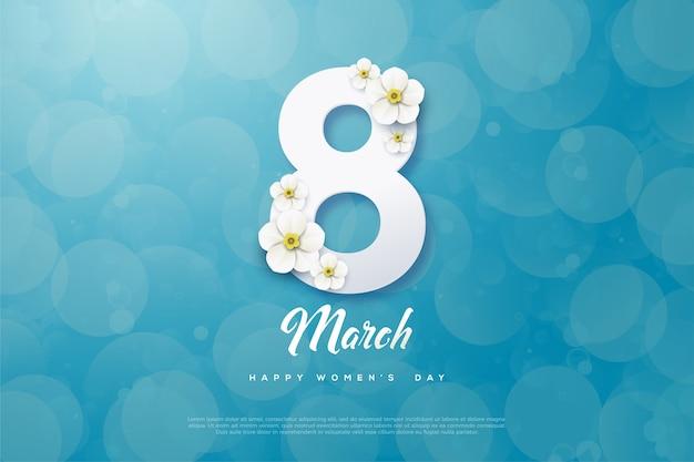 Vrouwendag achtergrond met cijfers en bloemen.