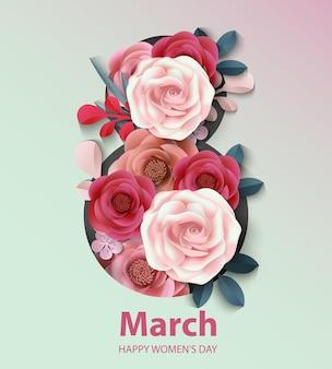 Vrouwendag achtergrond met papieren bloem. 8 maart vectorillustratie.