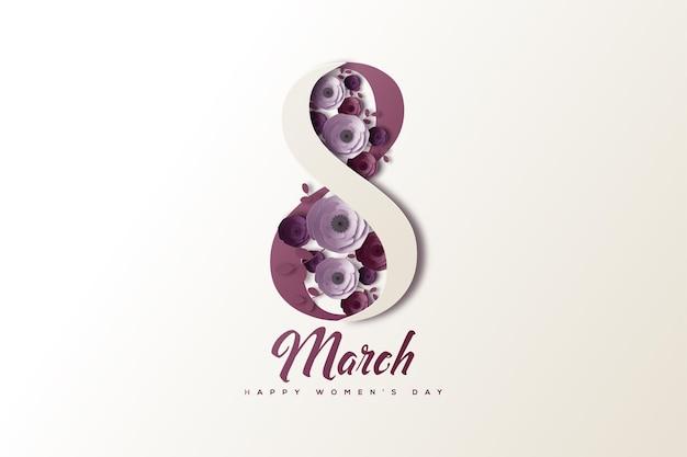 Vrouwendag achtergrond op 8 maart met witte en paarse cijfers naast elkaar