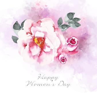 Vrouwendag belettering met prachtige aquarel roos