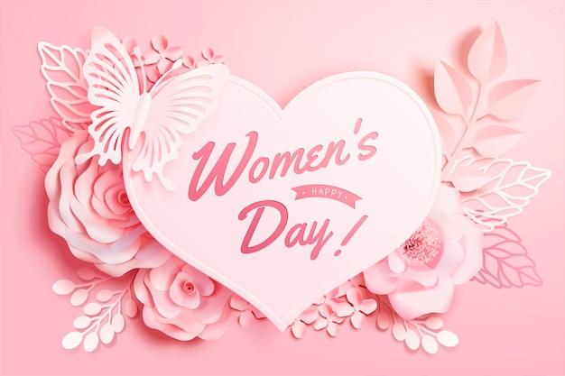 Vrouwendag bloemendecoratie met buttlefly en hartvorm in papieren kunststijl, 3d illustratie wenskaart