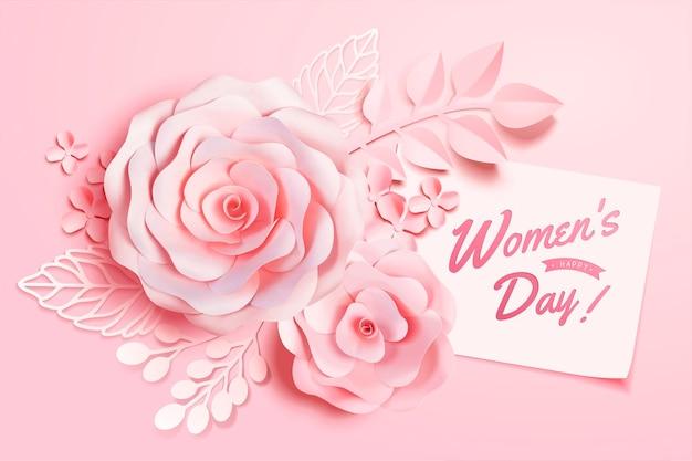 Vrouwendag florale decoraties in papieren kunststijl, 3d illustratie wenskaart in roze toon Premium Vector