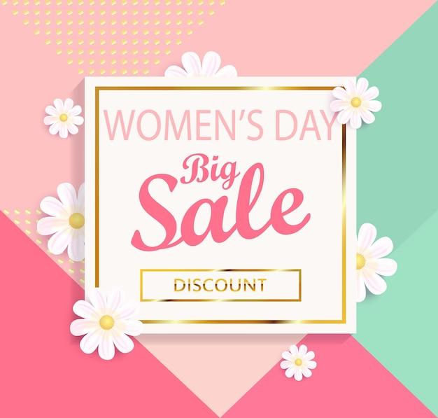 Vrouwendag grote verkoop geometrische achtergrond met mooie bloem. vector illustratie sjabloon, kaart, banners en behang, flyers, uitnodiging, posters, brochure, voucher korting.