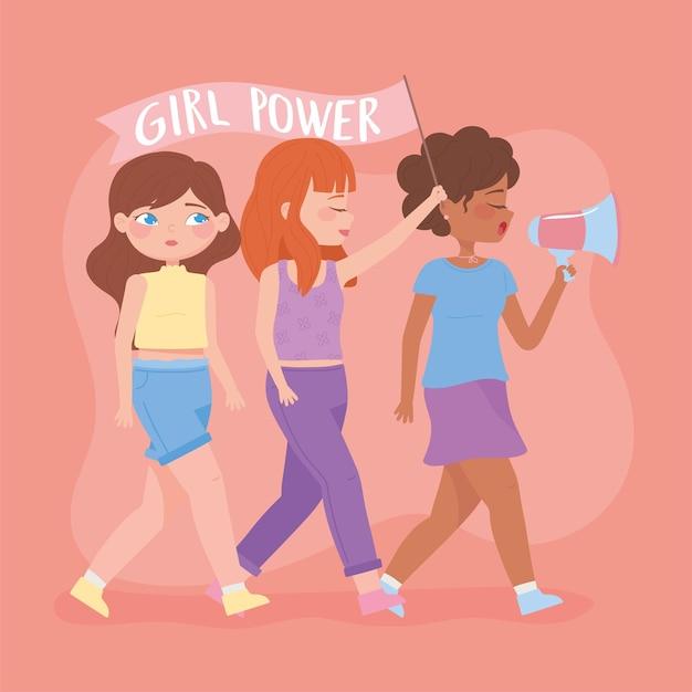Vrouwendag, jonge vrouwen met de cartoonillustratie van megafoonactivisten