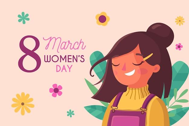 Vrouwendag met gelukkige zorgeloze vrouw