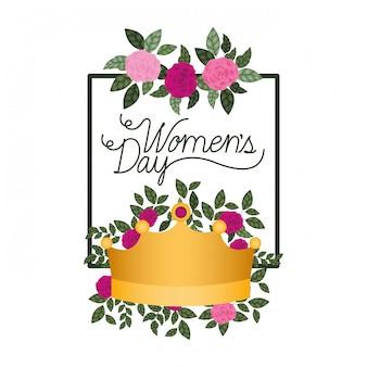 Vrouwendag met rozen frame geïsoleerd pictogram