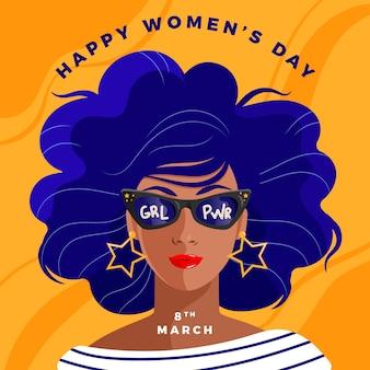 Vrouwendag met vrouw die zonnebril draagt