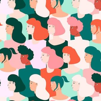 Vrouwendag patroon met gezichten