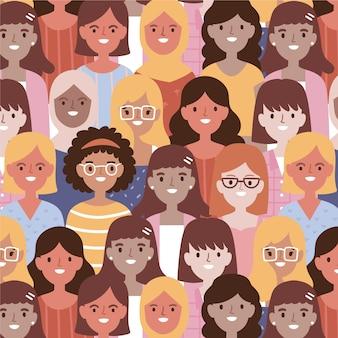 Vrouwendag patroon met vrouwen gezicht
