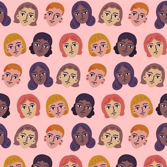 Vrouwendag patroon met vrouwen gezichten