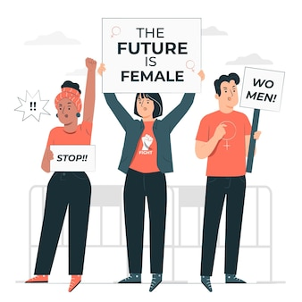 Vrouwendag protest concept illustratie
