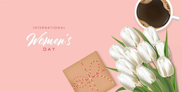 Vrouwendag realistische witte tulpen geplaatst illustratie