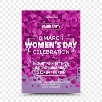 Vrouwendag viering acht maart sjabloon folder