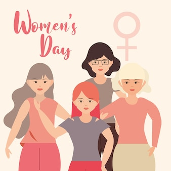 Vrouwendag, vrouw die karaktersillustratie samen staan