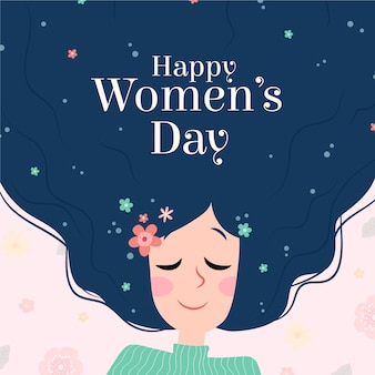 Vrouwendag vrouwelijk karakter met bloemen in haar haar
