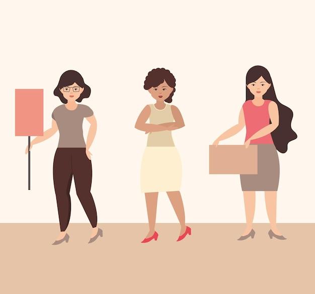 Vrouwendag, vrouwelijke demonstranten staan samen en houden borden illustratie