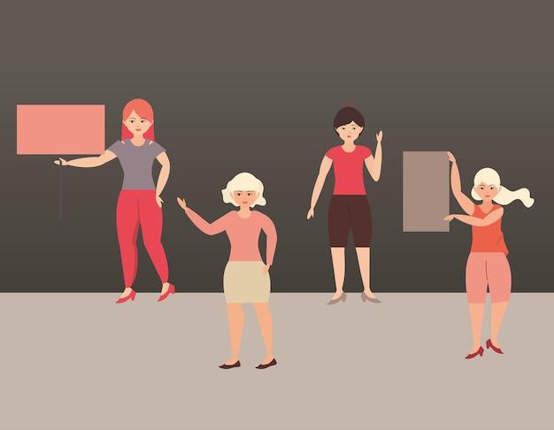 Vrouwendag, vrouwelijke empowerment beweging internationale illustratie
