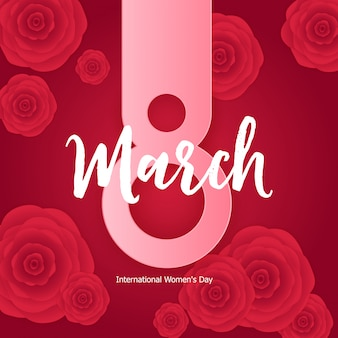Vrouwendag wenskaart 8 maart illustratie