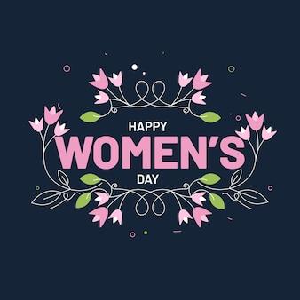 Vrouwendagtekst die met bloemen wordt verfraaid
