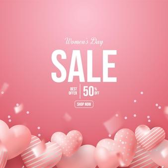Vrouwendagverkoop met roze 3d liefdeballons.