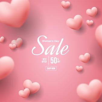 Vrouwendagverkoop met roze liefdeballonnen die worden verspreid.