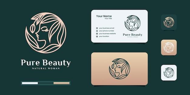 Vrouwenembleem met het concept van de schoonheidsgradiënt. logo kan worden gebruikt voor mode, salon, spa-logo ontwerpsjabloon.