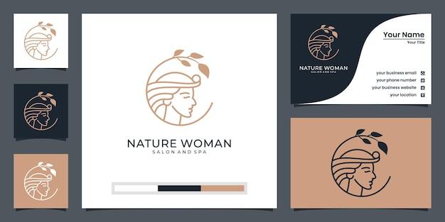 Vrouwengezicht combineren met bladlogo-ontwerp en visitekaartje. Premium Vector