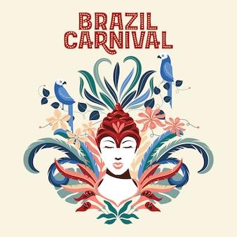 Vrouwengezicht, illustratie voor carnaval van brazilië