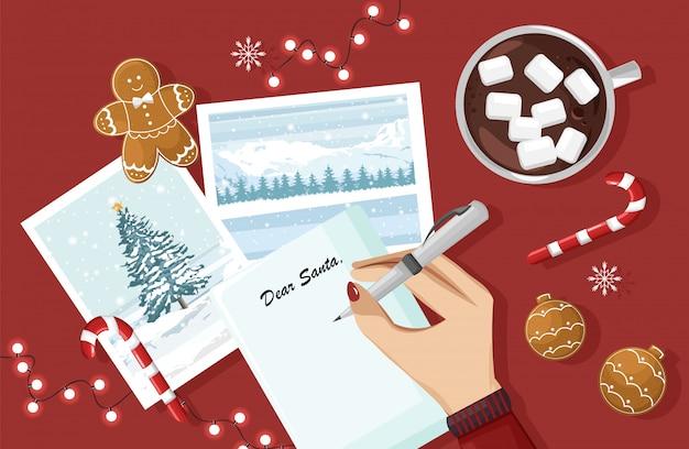 Vrouwenhanden die een brief voor santa typen