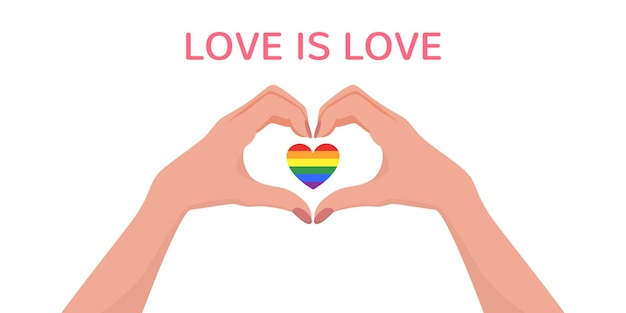 Vrouwenhanden die een hartvorm maken met een lgbt-vlaghart erin en love is love-beletteringtekening