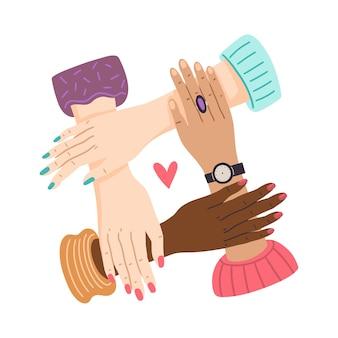 Vrouwenhanden die samen vectorconcept meisjesmacht en zusterschap sterker samen houden