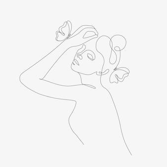 Vrouwenhoofd met vlindersamenstelling handgetekende lineartillustratie one line-stijltekening