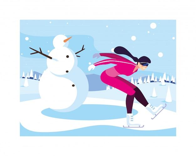Vrouwenijs die in landschap van de winter schaatsen