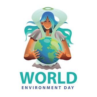 Vrouwenillustratie voor wereldmilieudag