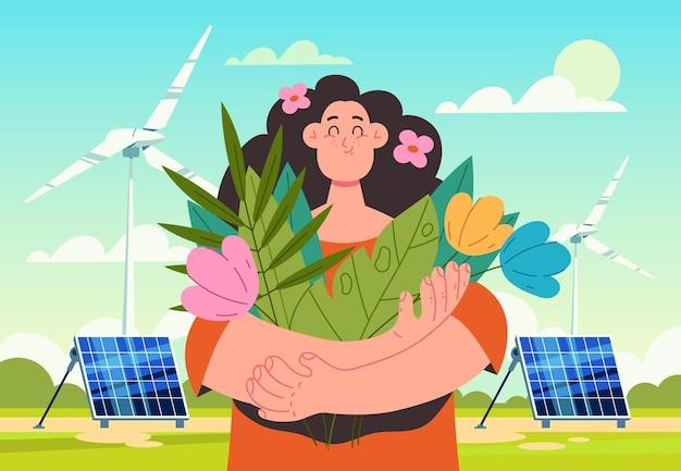 Vrouwenkarakter dat bloemen vasthoudt en frisse lucht inademt, windstation en zonnebatterijconcept